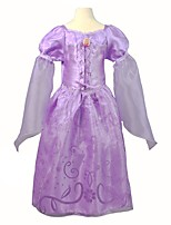 cheap -Girl's Birthday Holiday Solid Dress,Polyester Spring Fall Long Sleeves Cute Princess Purple
