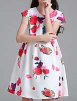 Girl's Birthday Holiday Print Dress,Polyester Summer Short Sleeves Simple White