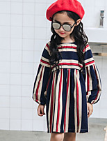 Girl's Casual/Daily Color Block Dress,Cotton Fall Long Sleeves Vintage Boho Blue