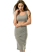cheap -Women's Daily Casual Summer Tank Top Skirt Suits,Solid Round Neck Sleeveless Cotton Micro-elastic