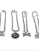 cheap -Necklace Ornaments Adjustable Size Foldable Decoration Rhinestone Footprint/Paw Bone Footprint/Paw Metalic Rainbow Silver