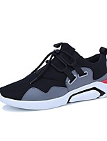 cheap -Men's Shoes PU Leather Tulle Winter Fall Comfort Sneakers Walking Shoes Stitching Lace for Casual Outdoor Red Gray Black