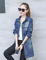 cheap -Women's Going out Street chic Winter Fall Denim Jacket,Solid Print Shirt Collar Long Sleeve Long Cotton Rivet