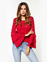 cheap -Women's Daily Holiday Street chic Winter Fall T-shirt,Solid Round Neck Long Sleeve Polyester