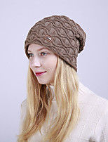 cheap -Women's Acrylic Roman Knit Floppy HatVintage Cute Casual Floral Winter Braided Khaki Wine Navy Blue Dark Gray Black
