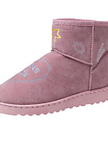 cheap -Women's Shoes Nubuck leather PU Spring Fall Comfort Snow Boots Boots Flat Heel Booties/Ankle Boots for Casual Pink Gray Black