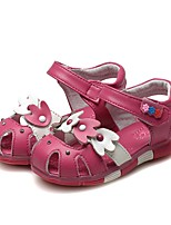 cheap -Girls' Shoes Leather Summer First Walkers Comfort Sandals Rhinestone Bowknot for Casual Dress White Peach Pink