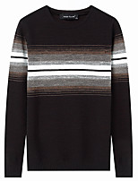 Men's Casual/Daily Simple Regular Pullover,Solid Round Neck Long Sleeves Cotton Polyester Winter Autumn/Fall Opaque Thin Micro-elastic