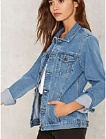 cheap -Women's Going out Street chic Fall Denim Jacket,Solid Notch Lapel Long Sleeve Short Linen