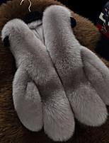 economico -Cappotto di pelliccia Per donna Casual Semplice Inverno Autunno,Tinta unita A V Pelliccia sintetica Corto Senza maniche Colletto di