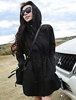 economico -Impermeabile Da donna Sport Semplice Primavera Autunno,Tinta unita Rotonda Cotone Poliestere Standard Maniche lunghe Colletto di pelliccia