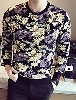 cheap -Men's Casual/Daily Sweatshirt Print Round Neck Micro-elastic Cotton Long Sleeve Fall