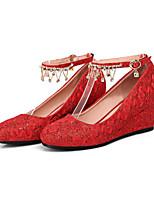 Недорогие -Для женщин Обувь Кружева Полиуретан Весна Осень Удобная обувь Оригинальная обувь Обувь на каблуках Туфли на танкетке Заостренный носок