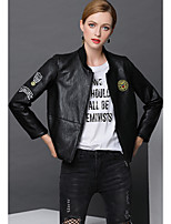 cheap -Women's Daily Vintage Fall Leather Jacket,Print V Neck Long Sleeve Regular PU