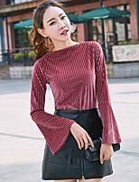 preiswerte -Damen Solide Freizeit Alltag T-shirt,Rundhalsausschnitt Langärmelige Polyester