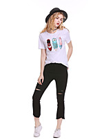 cheap -Women's Holiday Going out Street chic T-shirt,Solid Print Round Neck Short Sleeve Polyester Medium