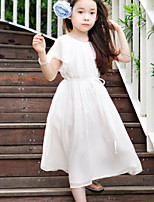 Girl's Birthday Holiday Solid Dress,Polyester Summer Short Sleeve Simple White Gray