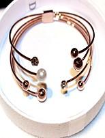 Femme Bracelets Rigides Manchettes Bracelets Zircon Perle imitée Rétro Coréen Mode Imitation de perle Zircon Alliage Forme Géométrique
