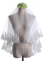 cheap -Two-tier Classical Lace Applique Edge Wedding Veil Elbow Veils 53 Laces Paillette Lace Tulle