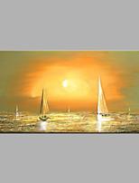 abordables -Pintada a mano Abstracto Horizontal,Modern Lienzos Pintura al óleo pintada a colgar Decoración hogareña Un Panel