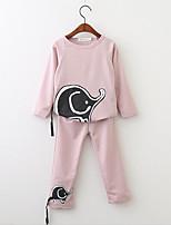 cheap -Girls' Daily Solid Print Cartoon Clothing Set,Cotton Spring Fall Long Sleeve Casual Active Blushing Pink Gray