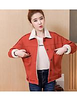 economico -Giacca di jeans Da donna Per uscire Casual Semplice Inverno Autunno,Tinta unita Colletto Cotone Corto Maniche lunghe