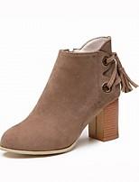 Недорогие -Для женщин Обувь Бархатистая отделка Зима Модная обувь Ботинки На толстом каблуке Ботинки для Повседневные Черный Коричневый