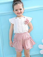 cheap -Girls' Daily Going out Solid Floral Clothing Set,Cotton Summer Sleeveless Cute Active Yellow Blushing Pink