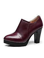 cheap -Women's Shoes Microfibre Spring Fall Fashion Boots Boots Chunky Heel Pointed Toe Booties/Ankle Boots for Casual Dress Wine Black