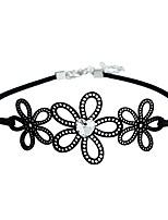 cheap -Women's Flower Simple Fashion Choker Necklace Synthetic Diamond Fabric Imitation Diamond Alloy Choker Necklace , Daily