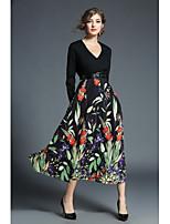 Недорогие -Для женщин На каждый день На выход Богемный С летящей юбкой Платье Цветочный принт,V-образный вырез Макси Длинные рукава Полиэстер Осень