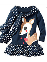 Girl's Christmas Birthday Animal Print Dress,Cotton Spring Long Sleeves Cartoon Navy Blue