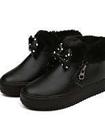 Недорогие -Девочки обувь Полиуретан Зима Осень Удобная обувь Зимние сапоги Ботинки Для прогулок Ботинки Бант для Повседневные Белый Черный Красный