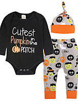 cheap -Baby Unisex Daily Going out Print Clothing Set,Cotton All Seasons Simple Casual Long Sleeve Black