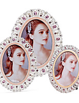 cheap -European Retro Classical Photo Frame Plated Metal Oval Crystal Picture Frames for Wedding Decor Gift A03