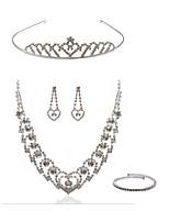 preiswerte -Damen Tiara Braut-Schmuck-Sets Strass Europäisch Modisch Hochzeit Party Diamantimitate Aleación Körperschmuck 1 Halskette Ohrringe