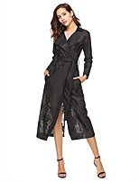 cheap -Women's Daily Work Casual Winter Fall Trench Coat,Solid Shirt Collar Long Sleeve Long Polyester Lace Jacquard