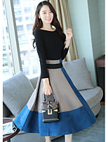 cheap -Women's Daily Casual Color Block Round Neck Skirt Long Sleeve Winter