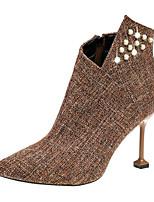 Недорогие -Для женщин Обувь Кожа / мех Дерматин Весна Осень Удобная обувь Модная обувь Ботинки На шпильке Заостренный носок Ботинки Искусственный
