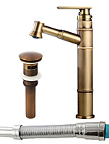 cheap -Art Deco / Retro Centerset Widespread Ceramic Valve Single Handle One Hole Antique Copper , Bathroom Sink Faucet