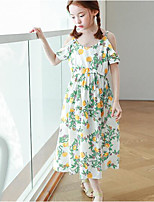 Girl's Holiday Casual/Daily Floral Dress,Polyester Summer Short Sleeve Simple White