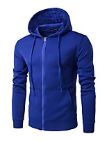 cheap -Men's Daily Hoodie Solid Hooded Micro-elastic Cotton Long Sleeve Winter Autumn/Fall