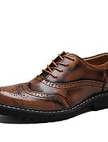 Недорогие -Для мужчин обувь Натуральная кожа Дерматин Весна Осень Удобная обувь Туфли на шнуровке для Повседневные Черный Коричневый