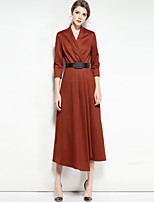 cheap -Mary Yan & Yu Women's Party Vintage Street chic Swing Dress,Solid V Neck Midi Half Sleeve Cotton Spandex Winter Fall Mid Rise Inelastic Opaque