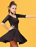 Latin Dance Dresses Women's Performance Ice Silk Lace Half Sleeve Natural Dresses