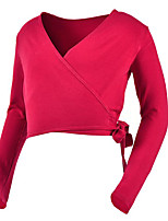cheap -Ballet Tops Women's Performance Cotton Bandage Long Sleeve Natural Top