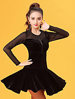 Latin Dance Dresses Women's Performance Velvet Chiffon Pleated Long Sleeve Natural Dresses