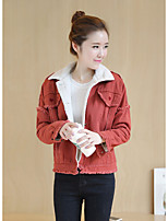 cheap -Women's Casual/Daily Simple Winter Fall Denim Jacket,Solid Shirt Collar Long Sleeve Regular Cotton