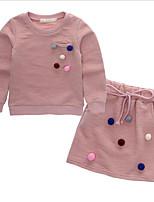 Girls' Polka Dot Clothing Set,Cotton Spring Fall Long Sleeve Street chic Blushing Pink Navy Blue