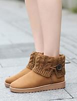 abordables -Mujer Zapatos Vellón Invierno Otoño Botas de nieve Botas Tacón Plano Dedo redondo Botines/Hasta el Tobillo para Casual Negro Amarillo Rojo